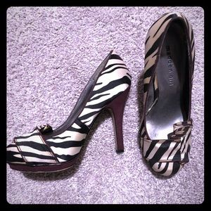 Madden Girl Round Toe Zebra Print Pumps